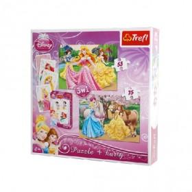 Disney hercegnők: 3 az 1-ben puzzle és kártya – Trefl – x