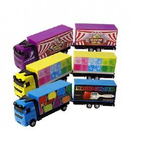 Felhúzható fém kamion pótkocsival – fénnyel és hanggal + ajándék PEZ-cukor – x